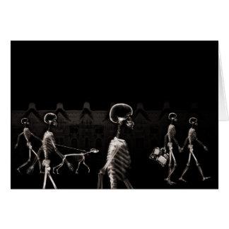 Sepia de medianoche del negro del paseo de los esq felicitación