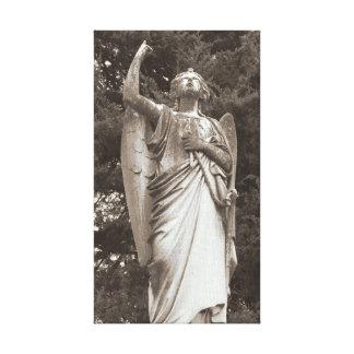 Sepia de piedra del ángel impresión de lienzo