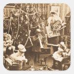 Sepia de Stereoview del vintage de Santa del Victo Etiqueta