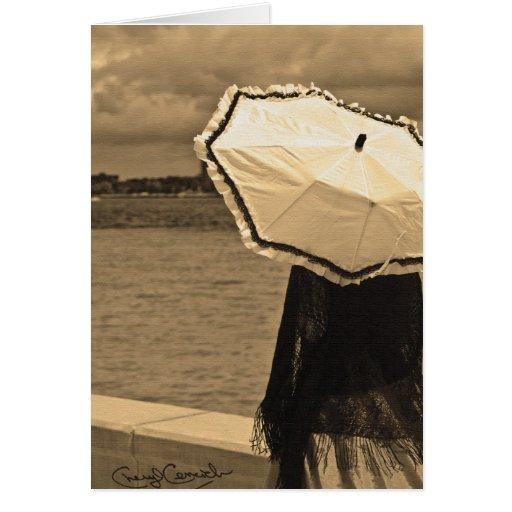 sepia del chica del paraguas felicitación