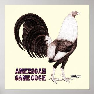 Sepia del gallo de pelea póster