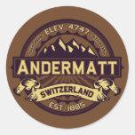Sepia del logotipo de Andermatt Etiquetas Redondas