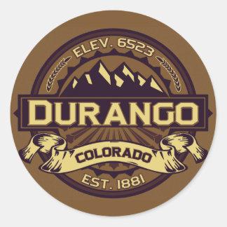 Sepia del logotipo de Durango Etiqueta Redonda