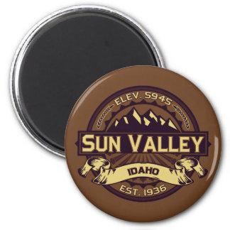 Sepia del logotipo de Sun Valley Imán Redondo 5 Cm
