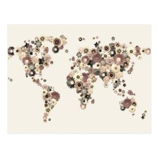Sepia del mapa del mundo de la flor postales
