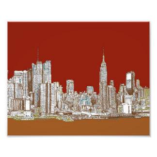 Sepia del rojo de New York City Foto