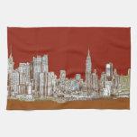 Sepia del rojo de New York City Toalla