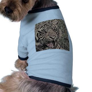 sepia del tigre del bosquejo camiseta con mangas para perro