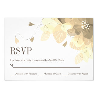 Sepia delicate fall flowers floral wedding RSVP Card
