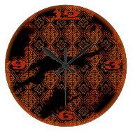 sepia diamond pattern victorian grunge wall clock