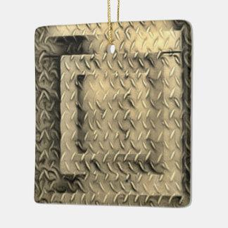 Sepia Diamond Plated Ceramic Ornament