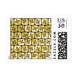 Sepia dragons pattern postage