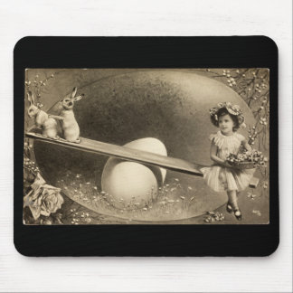 Sepia Easter photo with 2 bunnies pad Mouse Pad