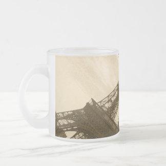 Sepia Eiffel Tower 10 Oz Frosted Glass Coffee Mug