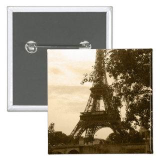 Sepia Eiffel Tower Pinback Button
