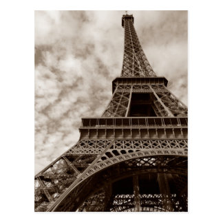 Sepia Eiffel Tower From Below Romance Paris Europe Postcard