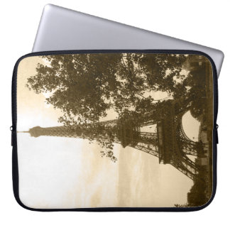 Sepia Eiffel Tower Laptop Computer Sleeve