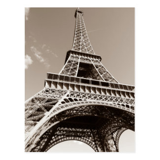 Sepia Eiffel Tower Love Romance Paris Europe Postcard