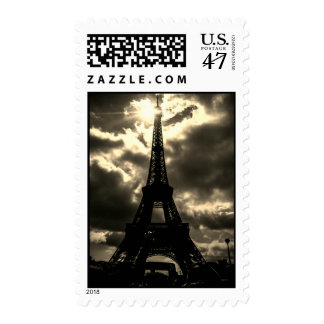 Sepia Eiffel Tower Paris City Night Postage