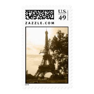Sepia Eiffel Tower Postage Stamp