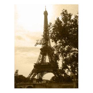 Sepia Eiffel Tower Postcard
