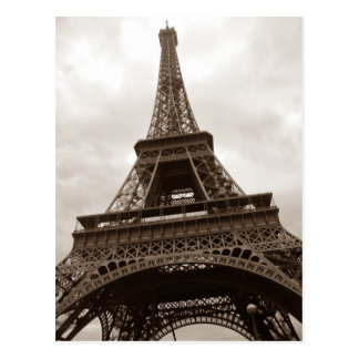 Sepia Eiffel Tower Romance Paris France Postcard