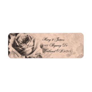 Sepia elegante de los rosas del vintage de la etiqueta de remitente