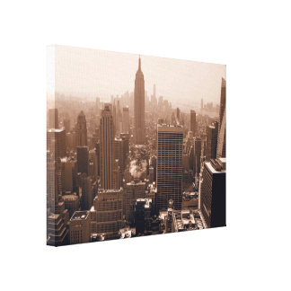 Sepia Empire State Building from Rockefeller Canvas Print