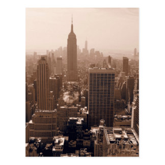 Sepia Empire State Building from Rockefeller Postcard
