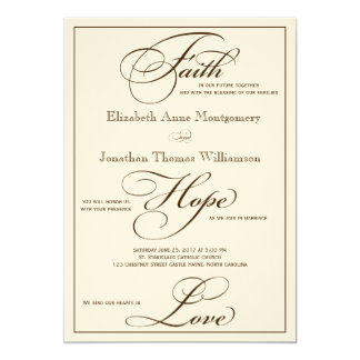 Sepia Faith Hope Love Script Wedding Invitation