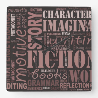 Sepia Fiction Writer's Word Art Clock
