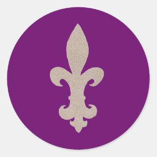 sepia Fleur De Lis Round Sticker
