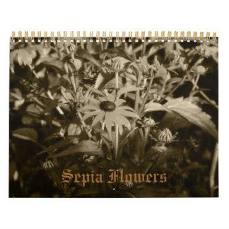 Sepia Flowers Calendar