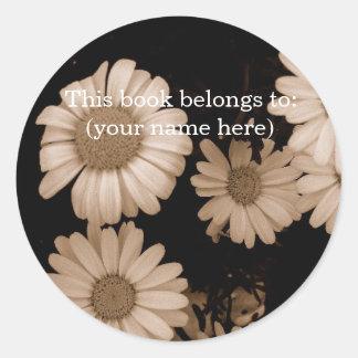 Sepia flowers, hidden bear round sticker