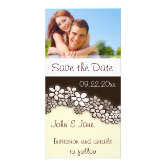 """Sepia  Flowers/photo  """"Save the Date"""" Photo Card"""
