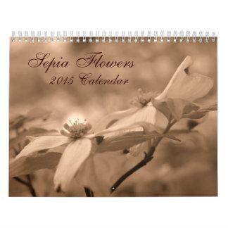 Sepia Flowers Photography 2015 Wall Calendar