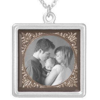 Sepia Frame Silver Plated Necklace