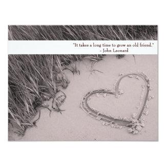 Sepia Friendship Heart Flat Card