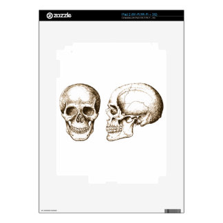 Sepia Front Side Human Skull Decals For iPad 2