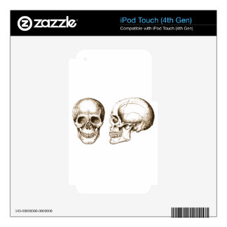 Sepia Front Side Human Skull Decals For iPod Touch 4G