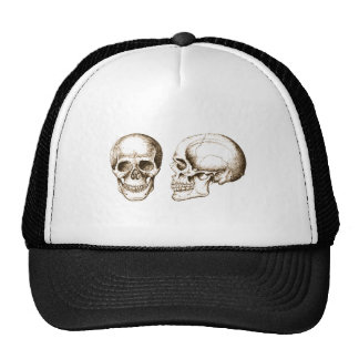 Sepia Front Side Human Skull Trucker Hat