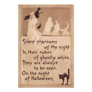 Sepia Ghost Witch Black Cat Crescent Moon Photo Print