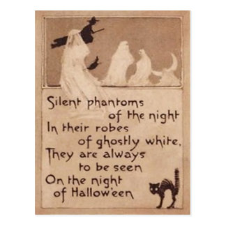 Sepia Ghost Witch Black Cat Crescent Moon Postcard