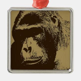 Sepia Gorilla Metal Ornament