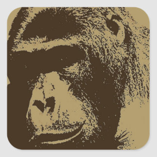Sepia Gorilla Square Sticker
