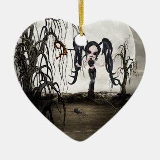Sepia Goth Girl Ceramic Ornament