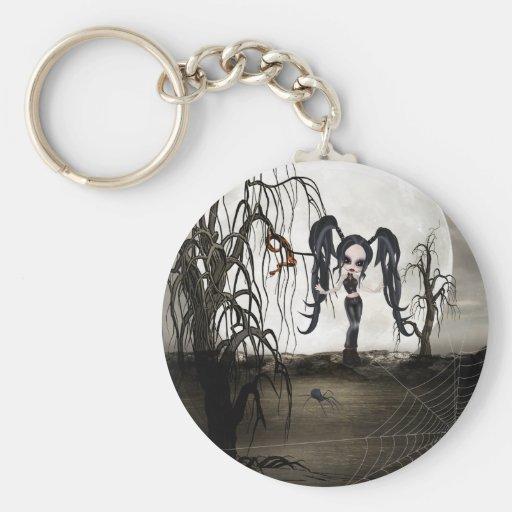 Sepia Goth Girl Keychains
