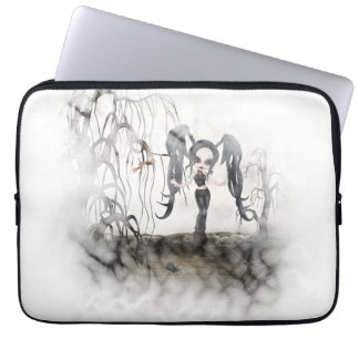 Sepia Goth Girl Vignette Laptop Computer Sleeves