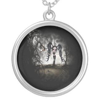 Sepia Goth Girl Vignette Pendant