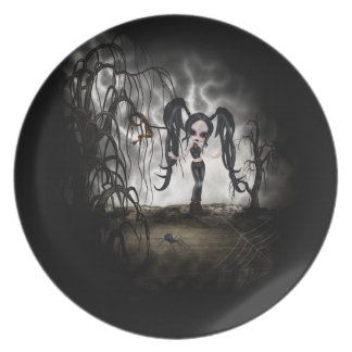 Sepia Goth Girl Vignette Party Plates